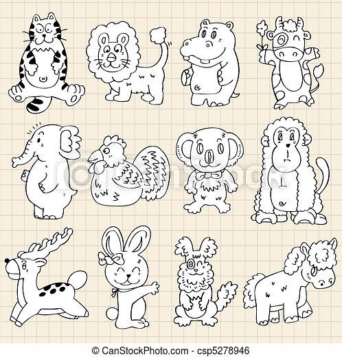 cute animals draw - csp5278946