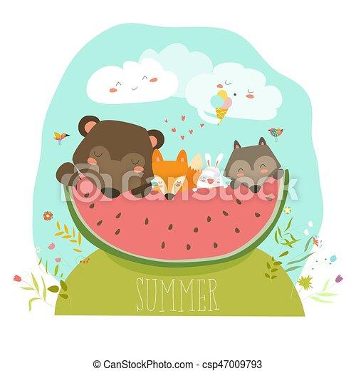 Cute animals eating watermelon slice. hello summer. vector ...