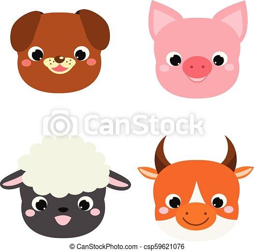 Cute Animals Faces Cartoon Kawaii Farm Pets Icons Dog Pig