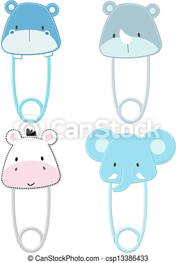 cute animals heads safety pins - csp13386433