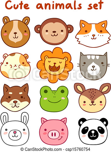 cute animals set rh canstockphoto com cute clipart jungle animals cute animals clipart free
