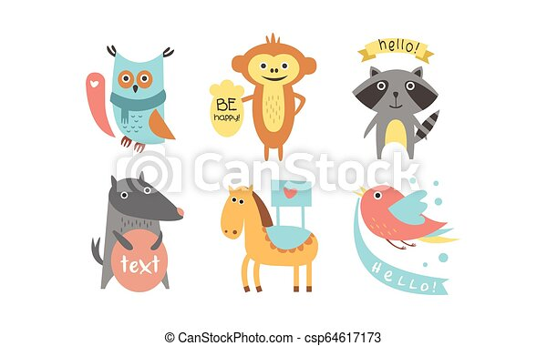 Cute Animals With Banners Set Owl Raccoon Monkey Wolf Horse Bird Holding Signboards With Text Design Elelment For