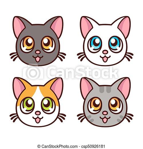 Cute Anime Cats Set Cute Anime Cat Faces Funny Kawaii Kitty Set
