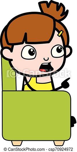cute, apontar, personagem, -, ilustração, falando, vetorial, menina, caricatura - csp70924972