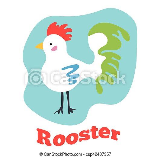 cute, arte, clip, ilustração, vetorial, caricatura, rooster. - csp42407357