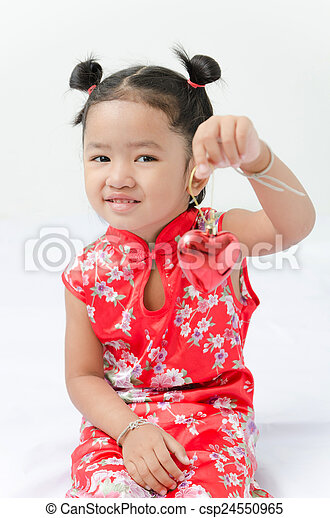 db2acaa28 Cute asian girl in red chinese dress with heart in hand on the white ...