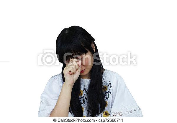 Cute Asian  Looking Sad from Headache. - csp72668711