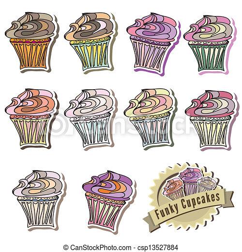 Cute assortment of vector cupcakes - csp13527884