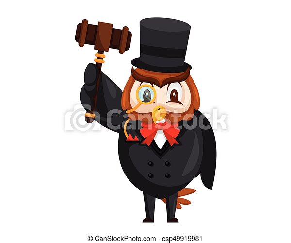 Cute Auction Wise Owl Cartoon Character - csp49919981