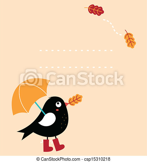 Cute autumn greeting Card with cartoon Bird ( vector ) - csp15310218