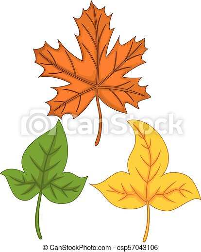 Vector Illustration Of Cute Autumn Leaves Cartoon Colorful