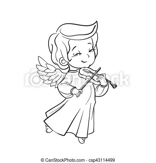 Cute Baby Angel Making Music Playing Violin Cute Smiling Baby Angel