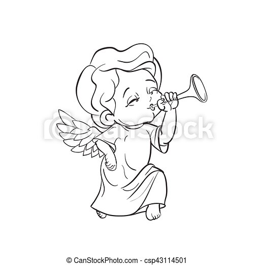 Cute Baby Angel Making Music Playing Trumpet Cute Smiling Toddler