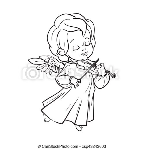 Cute Baby Angel Making Music Playing Violin Cute Smiling Angel Kin