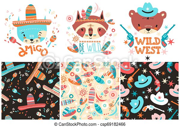 Cute baby animals and seamless patterns. Hand drawn vector illustration - csp69182466