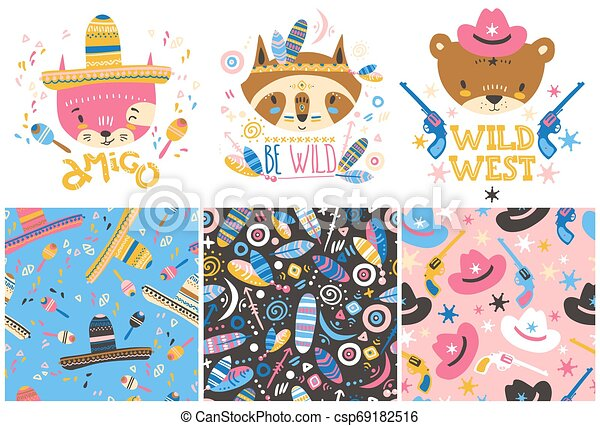 Cute baby animals and seamless patterns. Hand drawn vector illustration - csp69182516