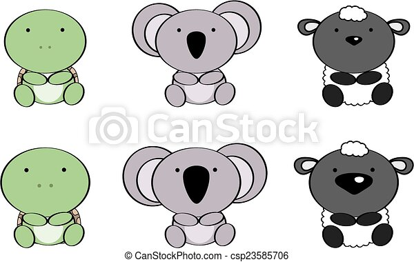 Cute baby animals cartoon set5 cute baby animals cartoon vector cute baby animals cartoon set5 csp23585706 voltagebd Image collections