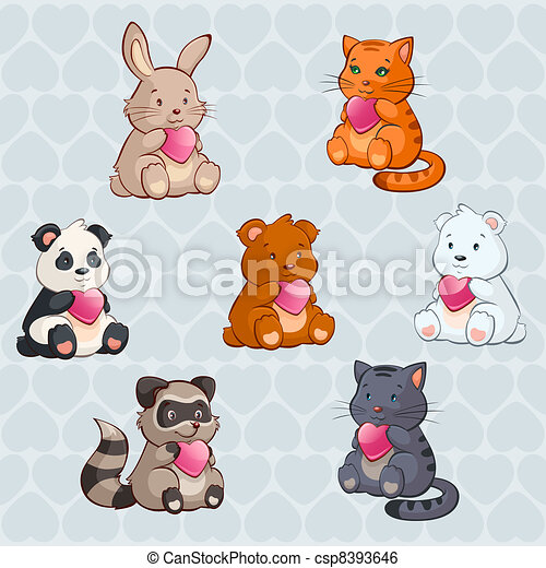 Cute Baby Animals Holding Hearts Valentine Day Illustration In Vector