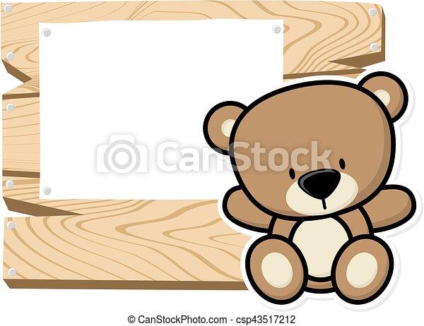 Cute baby bear frame. Illustration of cute baby teddy bear on wooden ...