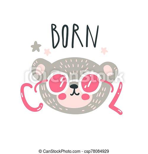Cute baby bear. Hand drawn vector illustration. For kid's or baby's shirt design, fashion print design, graphic, t-shirt, kids wear. - csp78084929