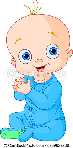 Cute baby boy clapping hands - csp9622289