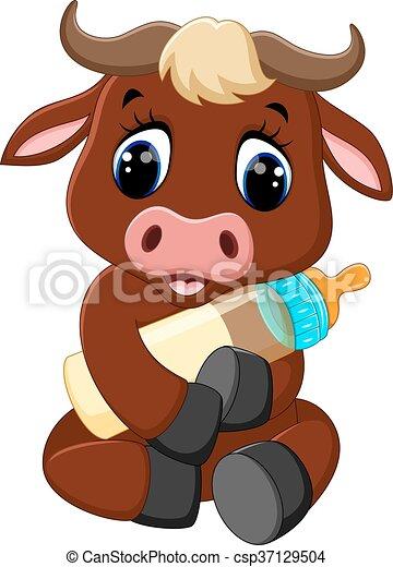 cute baby bull cartoon - csp37129504