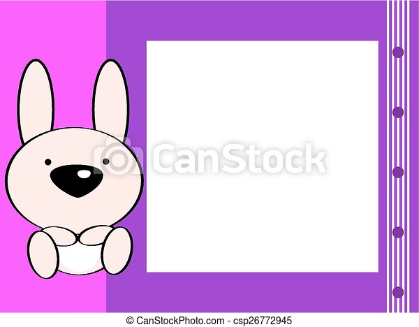 Cute baby bunny picture frame background in vector format.