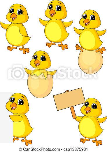 vector illustration of cute baby chicken cartoon set