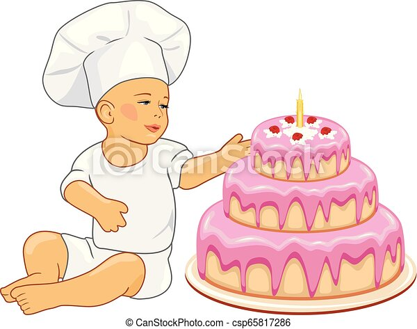 Cute baby confectioner with birthday cake - csp65817286