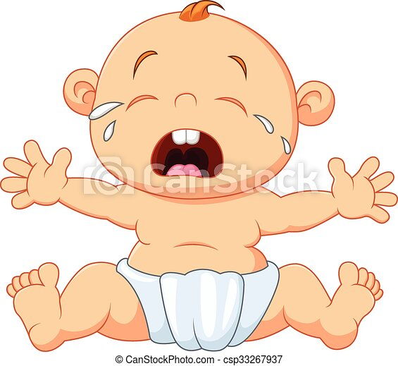 vector illustration of cute baby crying isolated on white vectors rh canstockphoto com crying baby clipart baby crying clipart with dummy