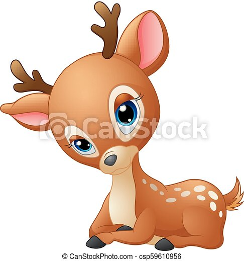 Vector Illustration Of Cute Baby Deer Cartoon