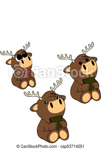 Cute Baby Deer Cartoon Set Cute Baby Animal Cartoon Set In Vector