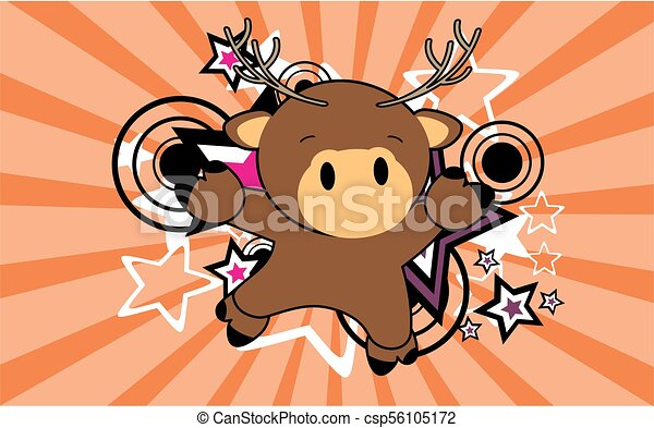Cute Baby Deer Jumping Cartoon Background In Vector Format Very Easy