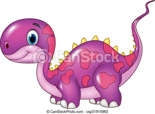 Cute baby dinosaur posing. Isolated - csp31915963