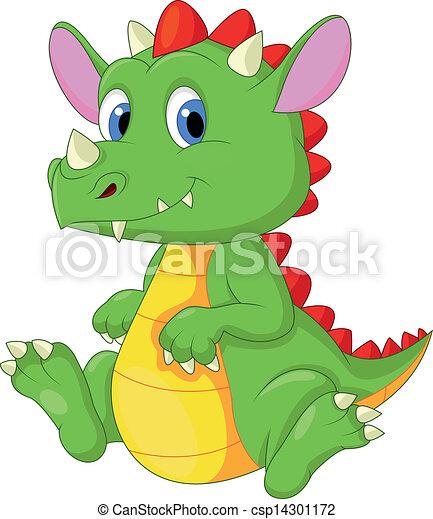 Cute baby dragon cartoon - csp14301172