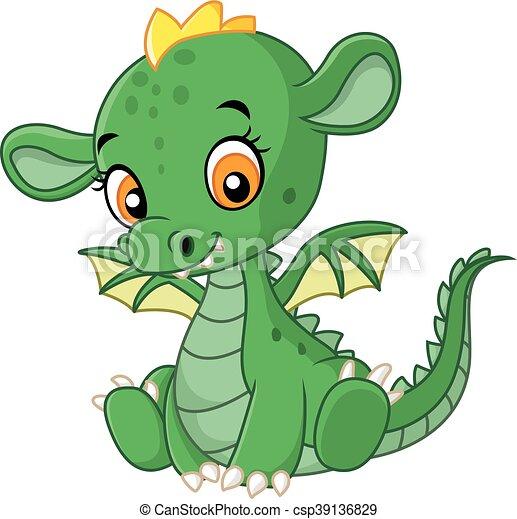 vector illustration of cute baby dragon vector