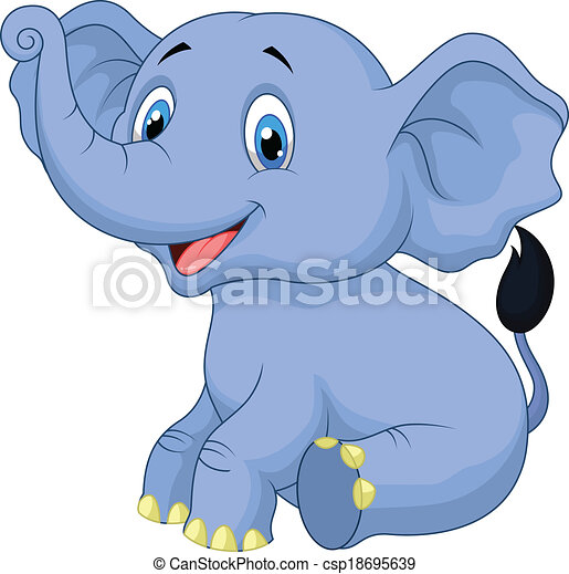 vector illustration of cute baby elephant cartoon sitting