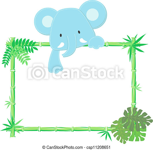 Cute baby elephant frame. Vector illustration of baby elephant with ...