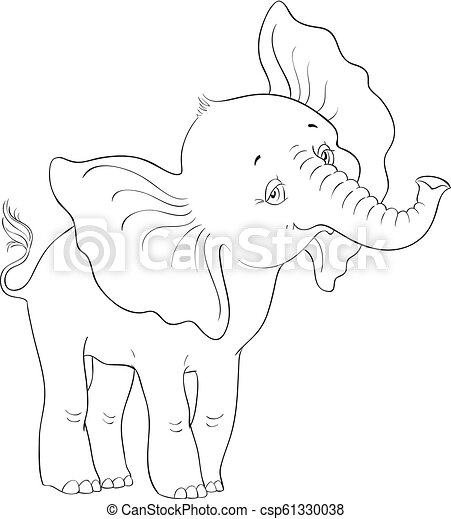 Cute Baby Elephant Standing Coloring Page Vector Cartoon Children