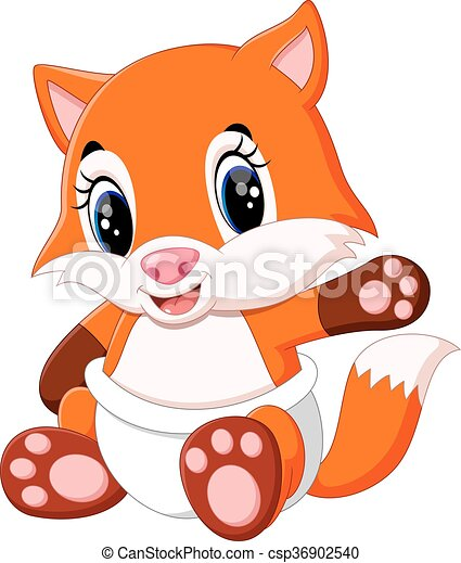 Cute baby fox cartoon illustration of cute fox cartoon - Clipart renard ...
