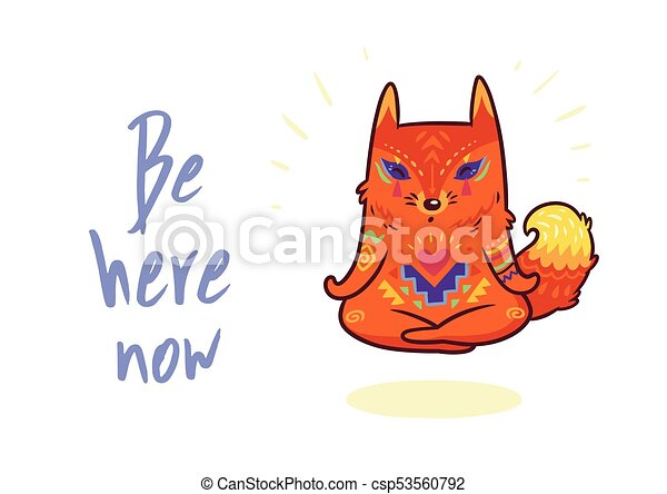 Cute Baby Fox In Lotus Meditation Yoga Poses Vector Print