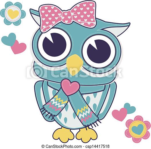 cute baby girl owl applique - csp14417518