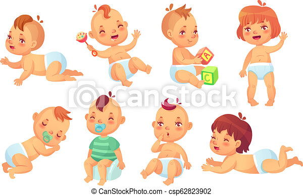 anime characters in diapers cute baby. happy cartoon babies, smiling and laughing toddler isolated  vector character set
