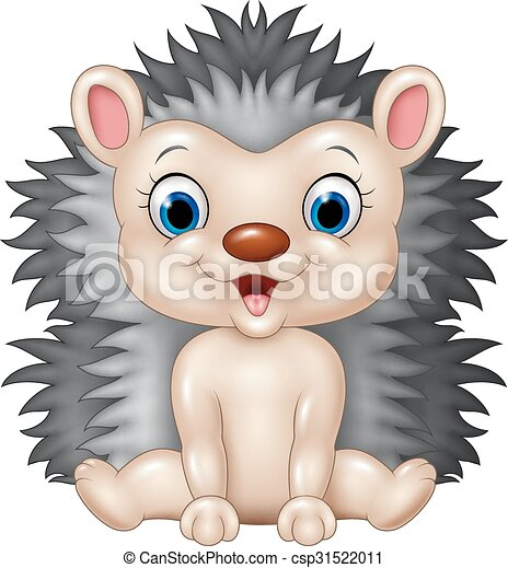Vector Illustration Of Cute Baby Hedgehog Sitting Isolated On