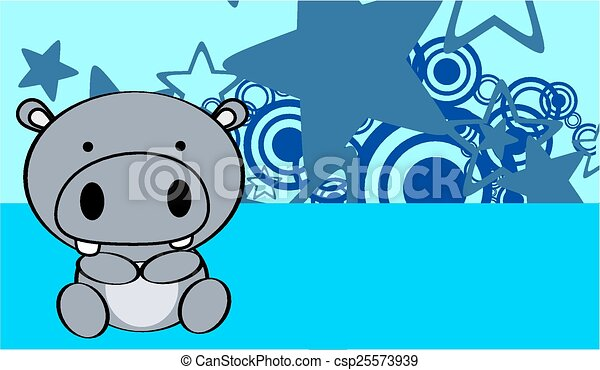 Cute Baby Hippo Background In Vector Format Very Easy To Edit