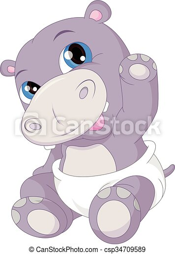 vector illustration of cute baby hippo cartoon waving vector rh canstockphoto com Baby Orangutan Baby Elephant Clip Art