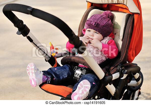 cute baby in stroller - csp14191605