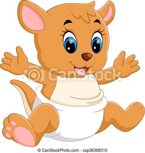 illustration of cute baby kangaroo cartoon