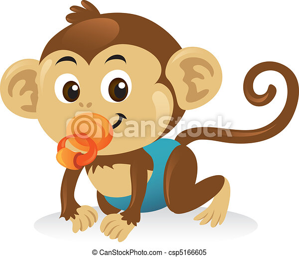 Cute baby monkey with a pacifier in a crawling pose. - csp5166605
