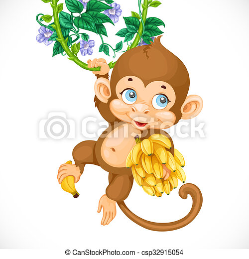 Cute baby monkey with banana isolated on a white background - csp32915054